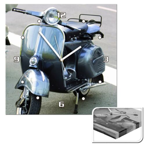 Wanduhr Uhr Motiv Roller Analoguhr Retro Motorroller Vespa Grau Mofa Küchenuhr