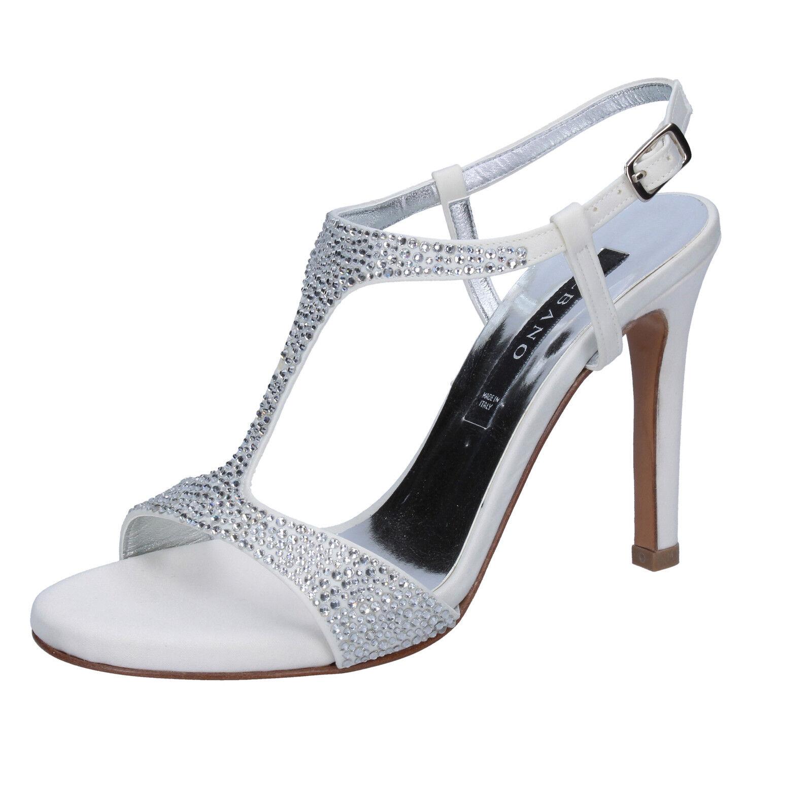 EU 39 donna EU bianco swarovski sandali Scarpe sandali seta ALBANO OgqdExY