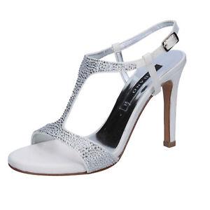 huge selection of 65568 7933c Dettagli su scarpe donna ALBANO 38 EU sandali bianco seta swarovski BT463-38