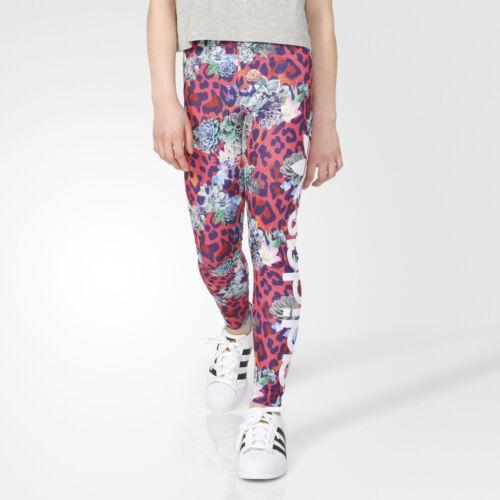 Adidas ORIGINALS GIrls Leggings Pink French Terry Pants Floral Print Adidas NEW