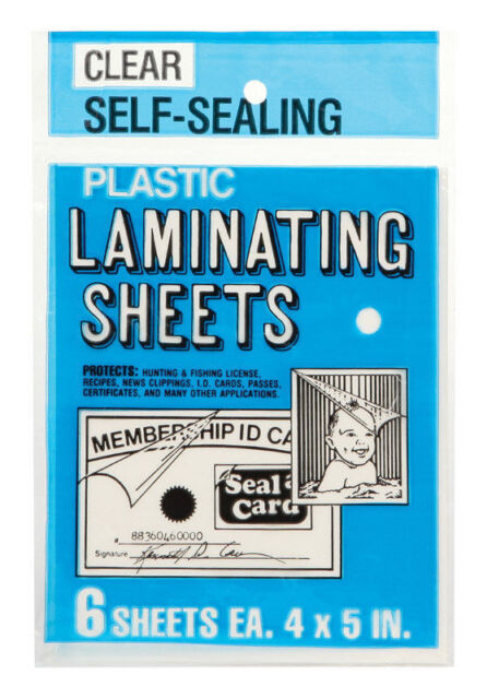 Seal a Card Plastic Clear Laminating Sheets sheets No Tools Needed #64521 6 Pcs.