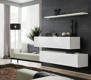 Dettagli su Moderno mobile sospeso, Malto.2 mobili e 1 mensola. Mobili  sospesi per soggiorno