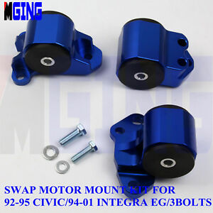 ALUMINUM 3-BOLT ENGINE TORQUE MOUNT BLUE FOR 92-95 CIVIC//-00 INTEGRA B//D SWAP