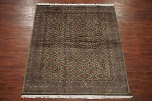 7X8-Signed-Wool-amp-Silk-Pak-Bukhara-Area-Rug-Hand-Knotted-Oriental-6-9-x-8