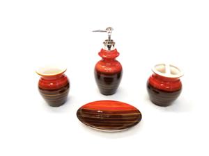 4 Piece Elegant Ceramic Bathroom Accessory Set - Modern New Design Red and Brown