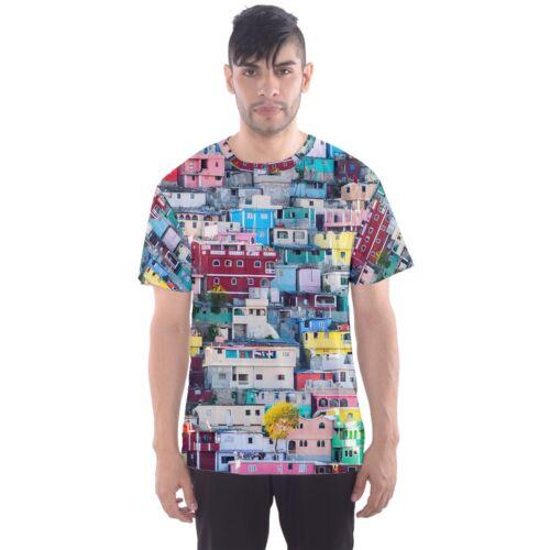 Haiti Colorfull Hillside Houses Sublimated Men/'s Sport Mesh t shirt Size S-5XL