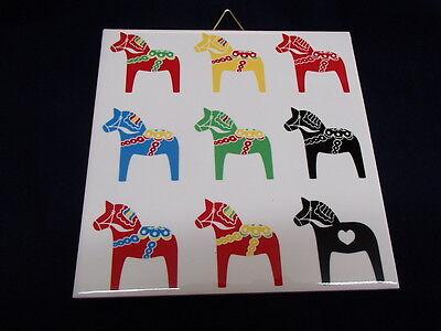 Ceramic Cork Backed Tile Trivet Hot Pad - Swedish Multi Color Dala Horses 378-66