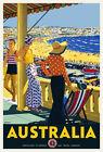 Vintage Art Deco Travel Poster Australia Bondi Beach Sydney 1920s Seashore Retro