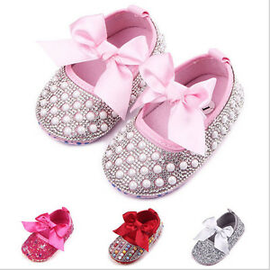 Baby-Girl-Princess-First-Walkers-Mary-Jane-Baptism-Pearl-Diamond-Bow-Dress-Shoes