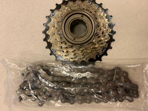 Shimano MF-TZ500 freewheel 6 and 7 speed and chain bundle