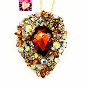 Women-039-s-Fashion-Big-Crystal-Flower-Pendant-Betsey-Johnson-Necklace-Brooch-Pin
