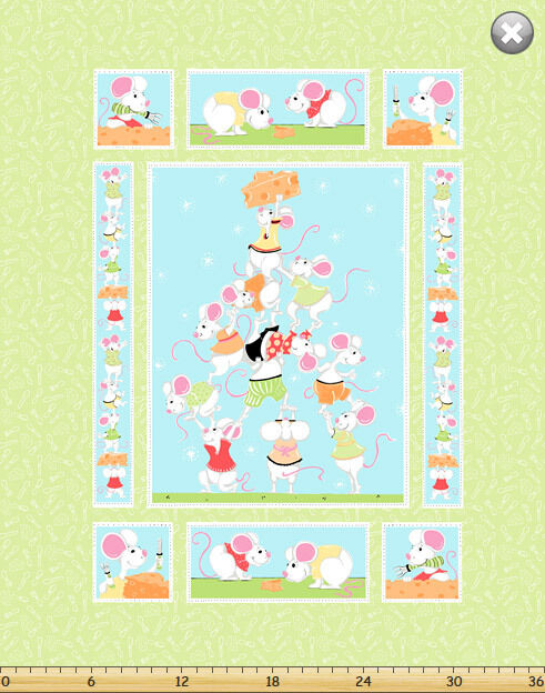 """Susybee/'s Pippa Growth Chart Chicken 100/% cotton 43/"""" fabric by the panel 29.5/"""""""