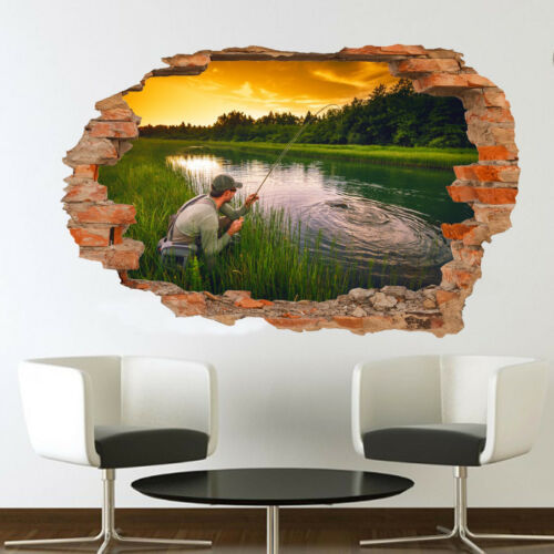 RIVER LAKE HOBBY FISHING WALL STICKERS 3D ART MURAL ROOM OFFICE HOME DECOR TT7