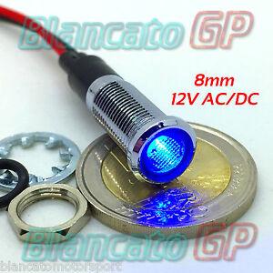 SPIA LED 16mm 12V DC BLU METALLO INOX auto moto camper segnalatore lampada