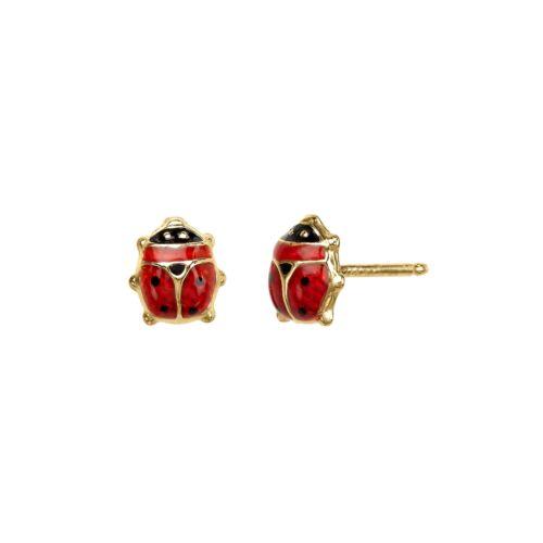 Girl/'s Lady Bug Earrings in 14K Gold