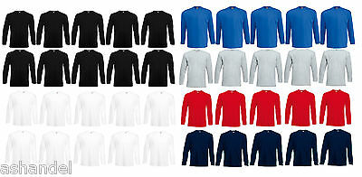 2019 Nuovo Stile Fruit Of The Loom F240 Valueweight Long Sleeve T Uomo Manica Lunga Top 10er Pack-
