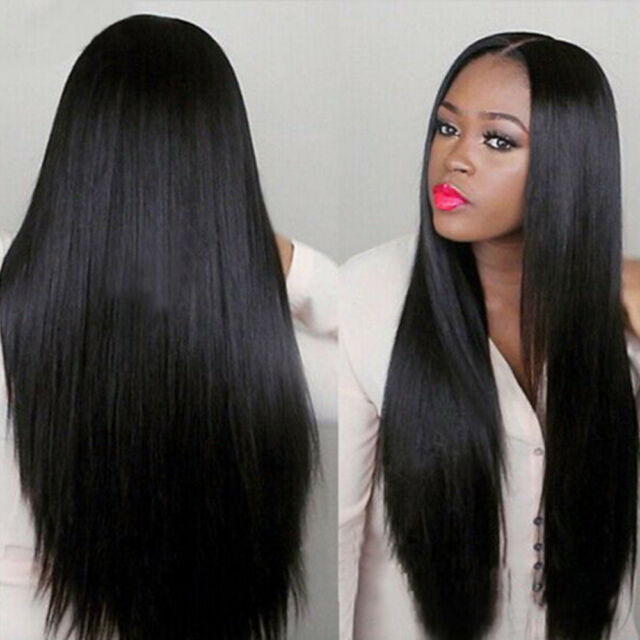Women Long Brazilian Black Straight Natural Wig Hair Cosplay Full Wigs  Costume d3624d503a