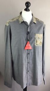 Mens-Goodsouls-Shirt-XXL-long-Sleeved-brand-New-with-tags-Colour-Grey-Khaki