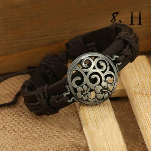 Fashion Vintage Men Women Charm Bangle Bracelet Cuff PU Leather