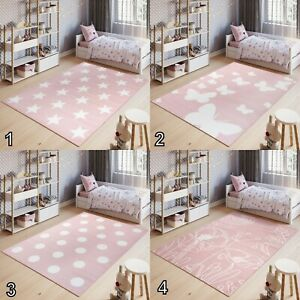 Details about Pink Kids Nursery Room Rug Girls Stars Butterfly Flowers  Design Bedroom Playmats