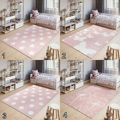 Pink Kids Nursery Room Rug S Stars Erfly Flowers Design Bedroom Playmats Ebay