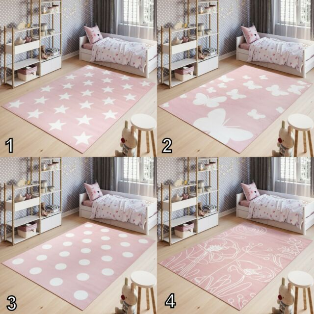 Kids Rug Butterfly Pattern Carpet Modern Children Girls Bedroom Pink Rug Playmat 200x290cm For Sale Ebay