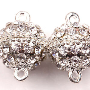 Wholesale-5Sets-Silver-Plated-Round-Crystal-Strong-Magnetic-Clasps-Hook19x14mm