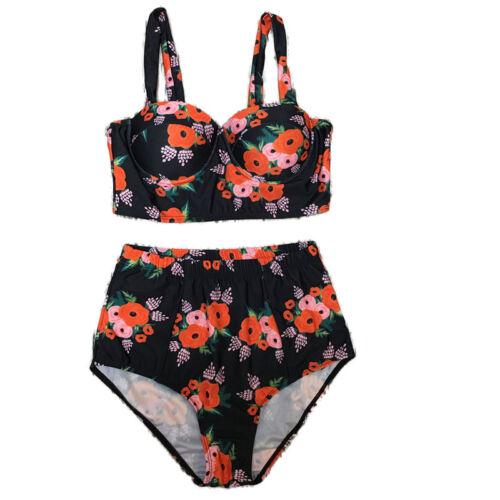Damen Badeanzug Push Up Bikini Set Hohe Taille Bademode Crop Top Strandkleidung