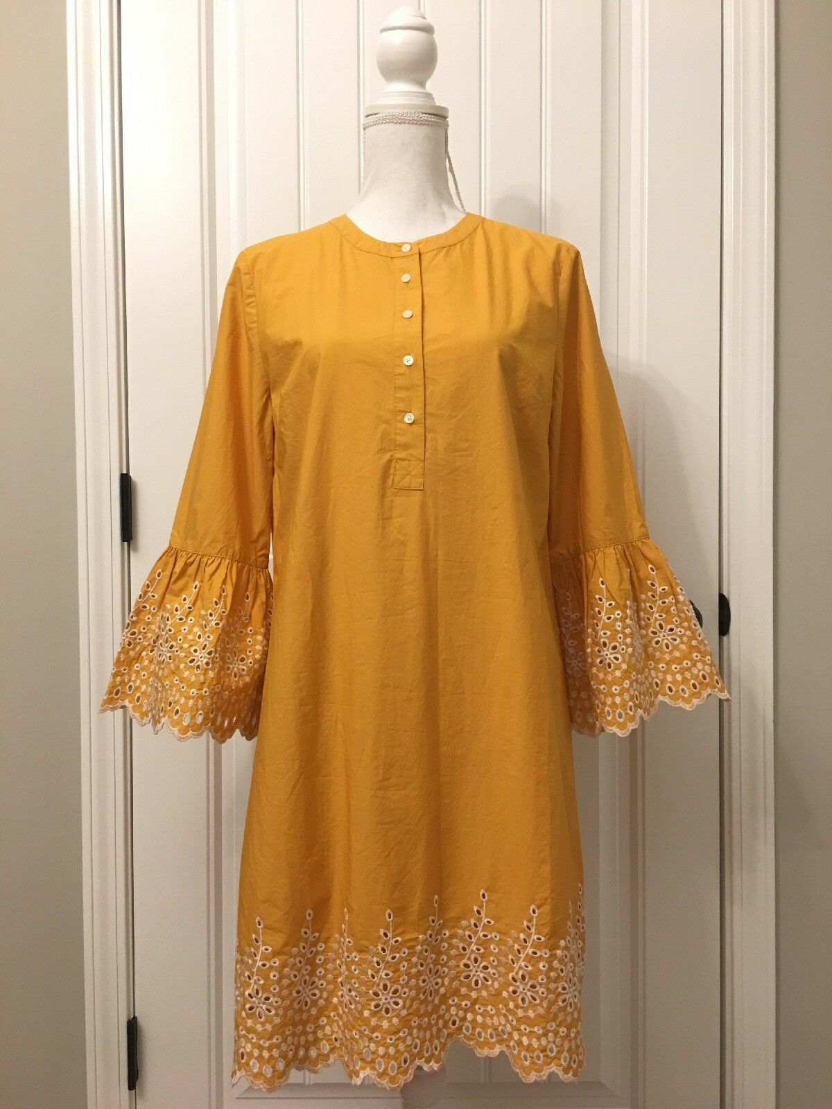 New J Crew Eyelet Bell-sleeve Dress Bronzed Orange Sz M H6978