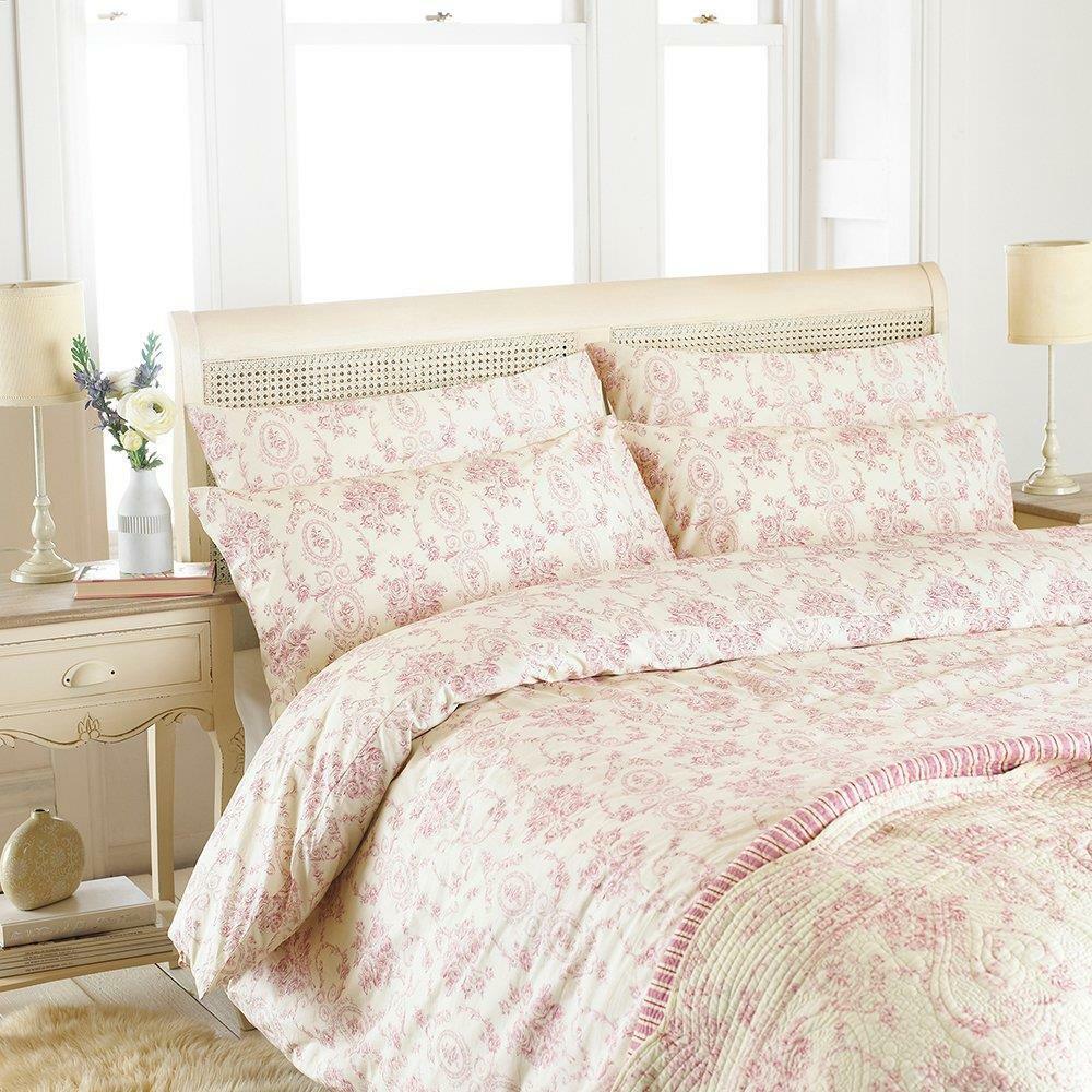 Riva Paoletti Etoille Double Duvet Cover Set - Pink - Vintage Floral Toile De -