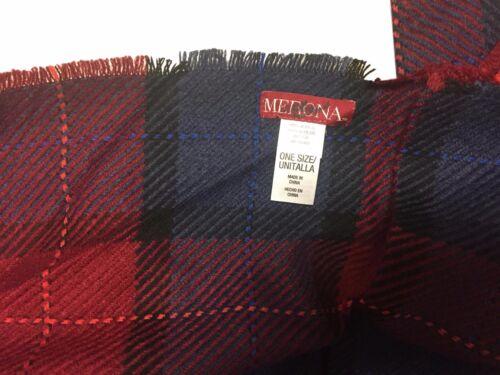 "Merona One Size Red Blue Plaid 24/"" x 80/"" Acrylic Fringed Black Line Scarf NEW"
