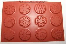 """12 Round Unmounted 1"""" Inchie Texture Rubber Stamps for Polymer, PMC, Paper, Clay"""