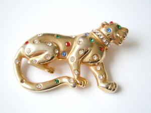 Freundlich Goldfarbene Modeschmuck Brosche Mit Buntem Strass Panther 31,5 G/6,6 X 4,0 Cm