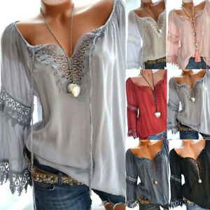 Women-Lady-Lace-Off-Shoulder-T-Shirts-Long-Sleeve-Casual-Loose-Blouse-Tops-S-5XL