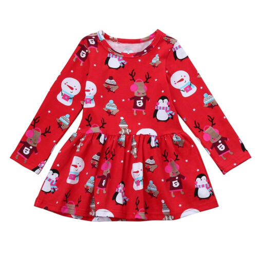 Xmas Infant Baby Kids Girl Clothes Long Sleeve Christmas Party Princess Dress