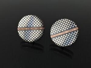 antike Tula Silber - Manschettenknöpfe - Schachbrett Muster mit Goldeinlage