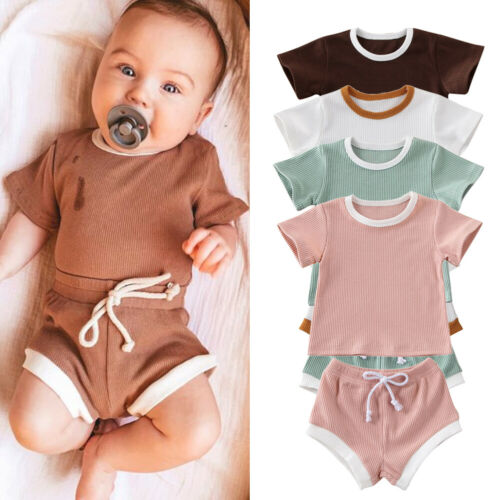 UK Summer Infant Baby Girl Boy Clothes Tops T-shirt Shorts Pants Outfit Sunsuit