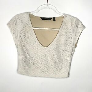 Kardashian-Kollection-Womens-Size-M-Crop-Top-Blouse-Textured-Side-Zip