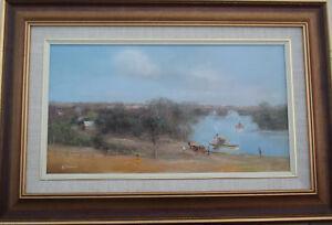 Nice-oil-on-canvas-by-Robert-Todonai-Australian-Paddle-Steamers-49cm-x-27cm