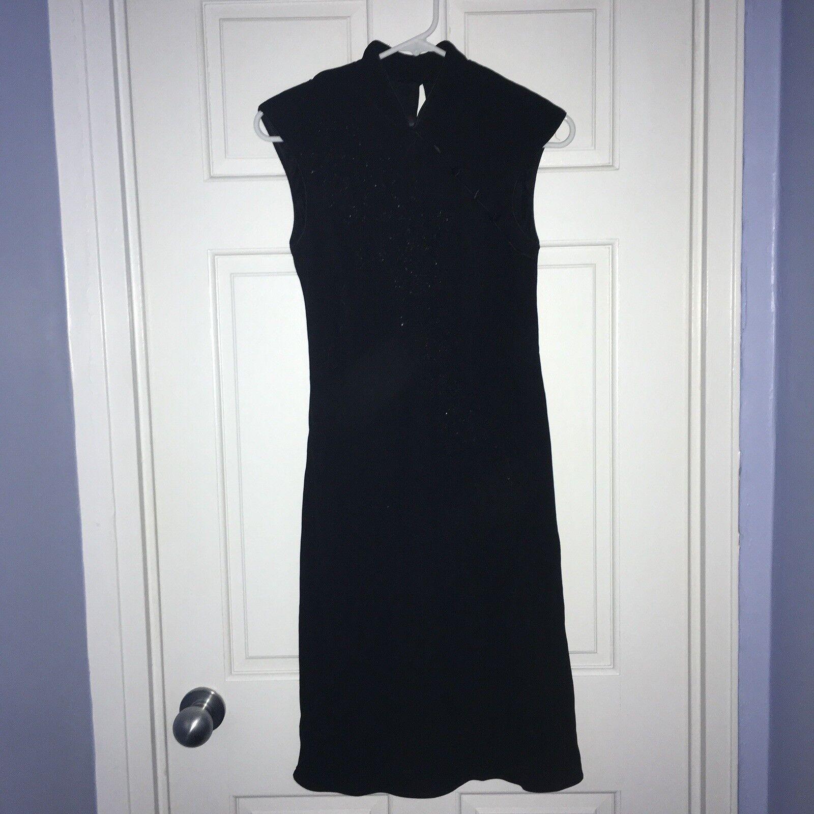 S.L. Fashions petite schwarz Asian-style dress, Größe 8P