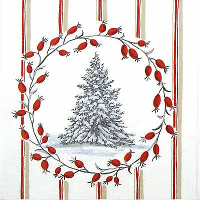 Papel 4x Servilletas Para Decoupage Decopatch CRAFT Nieve árbol rojo