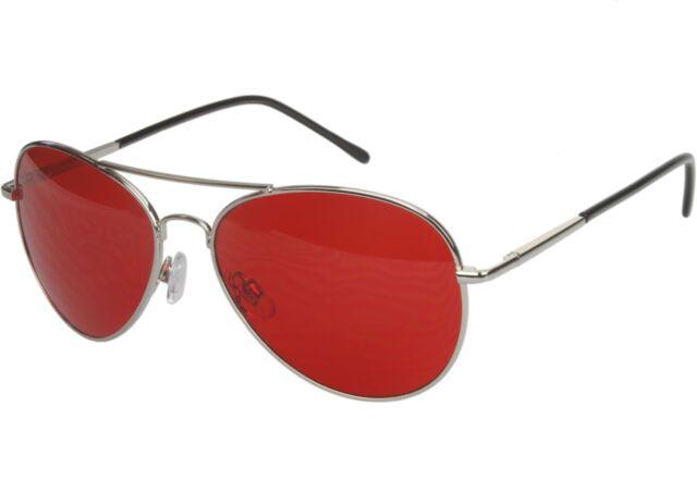 Mens Womens Sunglasses Red Tinted Lens Aviator Pilot Premium Silver ...