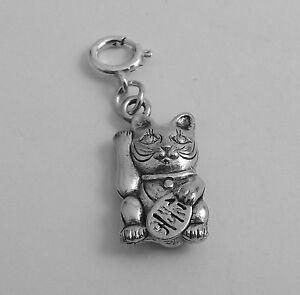 Pewter-Maneki-Neko-Cat-Charm-Fits-Traditional-and-European-Bracelets-0155