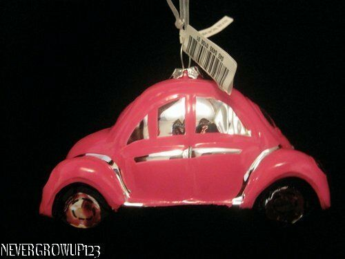 VW BUG~VOLKSWAGEN BEETLE BLOWN GLASS ORNAMENT~PINK~NWT