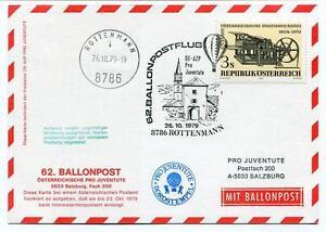 1979 Ballonpost N. 62 Pro Juventute Aerostato Oe-azp Rottenmann Bordstempel Suppression De L'Obstruction
