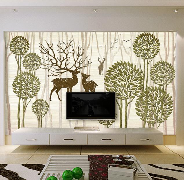 3D Trees Deer 556 Wallpaper Murals Wall Print Wallpaper Mural AJ WALL AU Lemon
