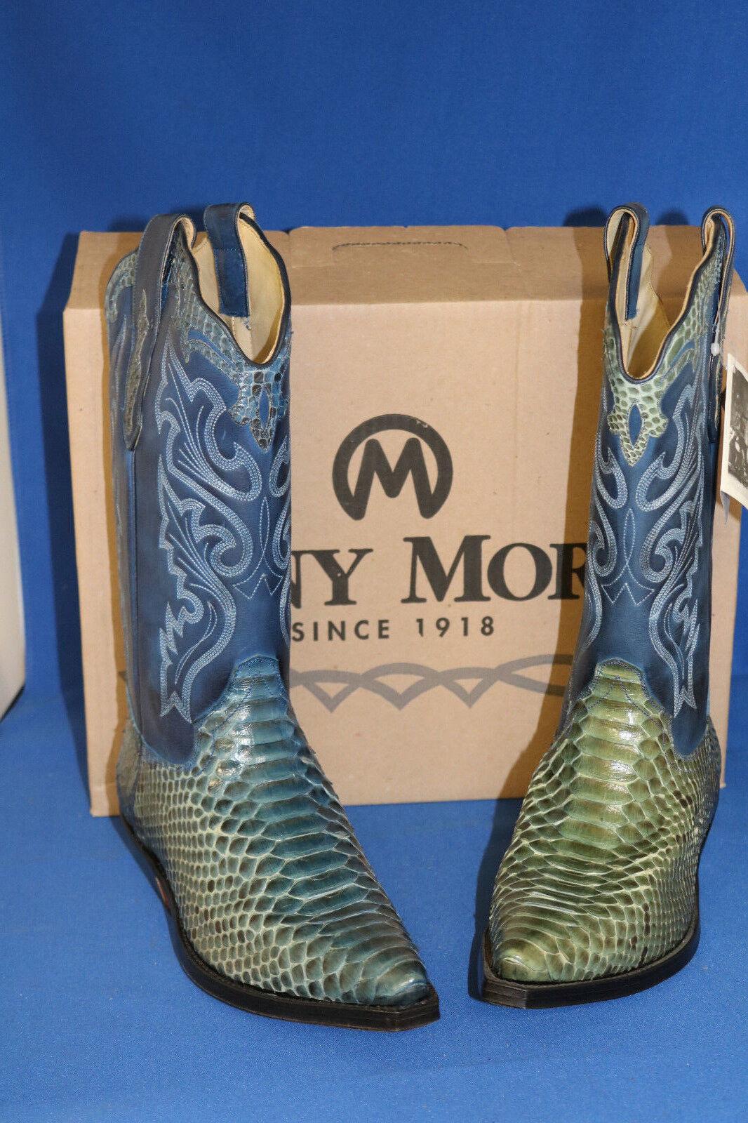 Tony mora botas botas vaqueras botas de vaquero botas Pyton azul nuevo talla. 42