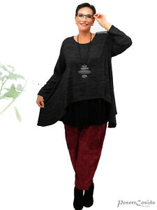 PoCo LAGENLOOK Tunika Pullover Pulli Shirt 44 46 48 50 52 54 56 58 XL-XXL-XXXL