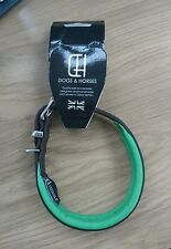 D&H Dogs & Horses LEATHER Dog Puppy Collar S Green Brown 42cm Neck 26-34cm Small