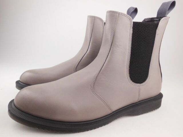 DR MARTENS Flora Grey Burnished Servo Lux Leather Chelsea Ankle Boots Size 11